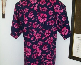 CAMP Clerical tab shirt, navy blue with fuchsia hibiscus. All cotton. Select size for made to order. TAB or Fullband ready Untucked style