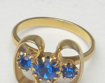 Vintage 1960's Ring Sapphire Blue Rhinestone Gold Loop Mid Century Mad Men Costume Jewelry Adjustable Size Gift For Her on Etsy