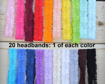 """Lace Headbands - Stretch Elastic Lace Baby Headbands - Set of 20 - 1"""" Lace Headbands - Elastic Lace Baby Headbands - 1 of Each Color"""
