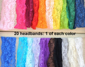 "Lace Headbands - Wholesale Stretch 2"" Lace Headbands - Set of 20 - 1 of Each Color - Baby Headbands - Elastic Lace Headbands"