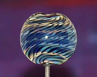 Lentil with a Twist Handmade Lampworked Glass Bead OOAK Black Blue Purple Amber Lentil Focal Lampwork
