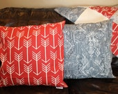 Arrow Pillow Cover -Red, Gray, Navy, Apache Blue, Mint, Coral, Tan, Pink