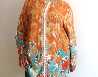 Mustard White Cotton Blouse Oversized Tunic Tent Top XLCotton TunicTop,Brown long sleeve tunic,Floral Cotton Tunic, Mustard Blouse Tunic Top