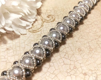 The Amanda- Silver Swarovski Pearl and Hematite Right Angle Weave Braided Bracelet with Glass Overlay
