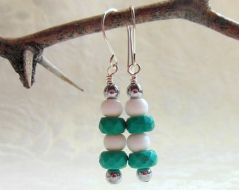 Turquoise and white earrings with argentium sterling silver wires, made to match necklace