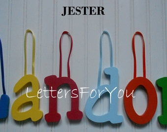 "Wooden Wall Letters - Painted - 6"" Size - Jester plus Various other Fonts - Gifts and Decor for Nursery - Home - Playrooms - Dorms"