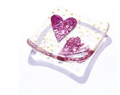 Valentine's Day twin love hearts fused glass valentine art trinket dish tealight candle bowl ruby wedding anniversary bride red mom mum gift