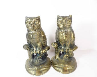 Vintage Brass Owl Bookends - Brass Owl Bookends