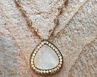 White pave druzy pendant with gray topaz necklace
