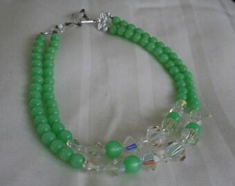 Vintage Jadite Green Multi Strand Necklace