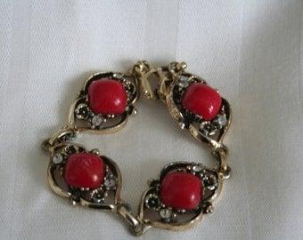 Vintage Red Link Bracelet Shabby Chic