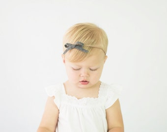 BOW Collection: Skinny Felt Bow Headband on Nylon Elastic