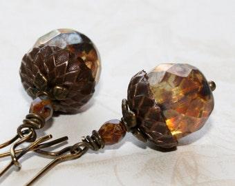 Glass Acorn earrings, Woodland Earrings, Rustic earrings, Long dangle earrings