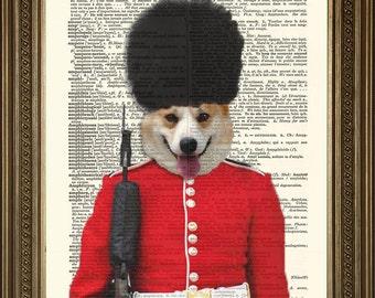 "QUEEN'S CORGI GUARD: Buckingham Palace Dictionary Art Print (8 x 10"")"