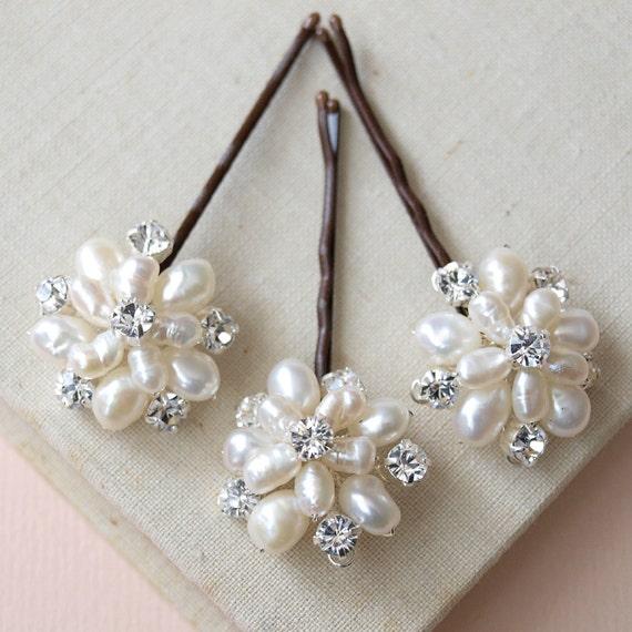 Flora Pearl Hair Pins Wedding Hair Accessories Bridal Flower Clips Bridesmaid White Peal Rhinestone Flower Hair Pin Real Pearl Accessories