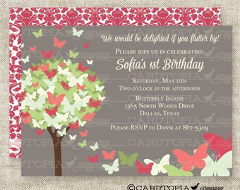 BUTTERFLY BIRTHDAY PARTY Invitations Fairy Tale Butterfly Digital diy Printable Personalized - 92382124