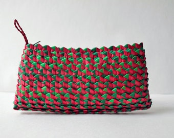 African Palm Leaf Basket Woven Clutch Wallet