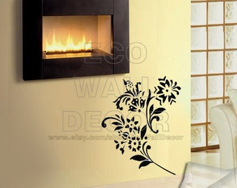 PEEL and STICK Removable Vinyl Wall Sticker Mural Decal Art - Romantic Black Lily Flower