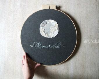 Bonne Nuit Moon Good Night Embroidery Wall Art