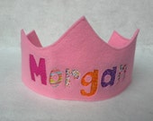 Felt Name Crown -  Birthday Crown - NEW STYLE - Royal - Light Pink