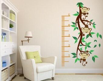 wall decals - Growth chart - Monkey decal - nursery decals - vinyl wall decal - Tree branch - vine decal - children decals - Kids decal