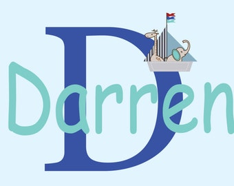 Kids decals - initial decal - monogram - name decals -  Boat -  vinyl wall decal - wall decals - Nursery decal - child's name decal - baby