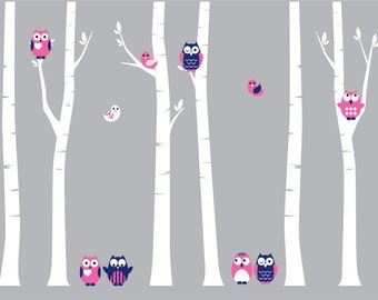 Nursery decals - Brich trees - Wall decal - tree decal - Owl decal -  Bird decal - set of trees - Vinyl tree decal - Vinyl decals