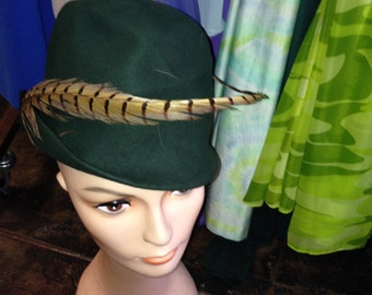 Vintage Green Feather Cloche Hat
