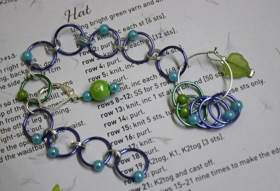 Knitting Counter Ring : Knitting row counter stitch marker rings blue and green