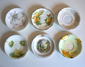 Six Mismatched English Saucers (6) Assorted Vintage Fine Bone China Floral Saucers Tea Party Ready  - Floyd Jones Vintage