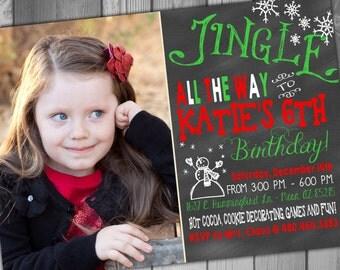 Christmas Birthday Invitation Photo Birthday Invitation Christmas Invitation Printable Birthday Winter Birthday Party Winter Invitation