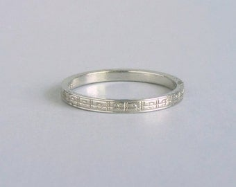 Art Deco Geometric Wedding Ring. 18k White Gold. Engraved Initials. Eternity. 1929.