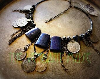 Tribal Assemblage Necklace High Quality Lapis Lazuli Raw Quartz Kuchi coin Chain Fringe Boho Festival