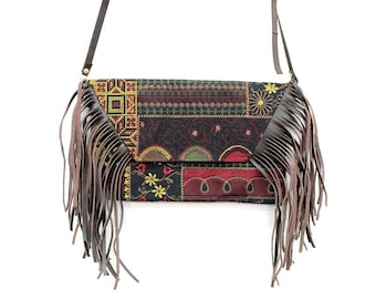 Cross Body Fringe Bag with Removable Leather Strap Embroidered Fabric (BG4395-71C39)