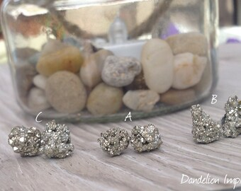 Pyrite Earrings, Natural Raw Stone Stud Earrings, Fools gold