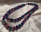 Colorful Plastic Bead Double Strand Necklace