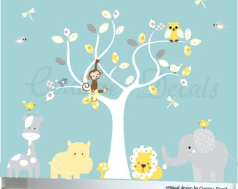 Gender neutral decal, childrens wall decals, jungle animals, vinyl wall decal, decal owls, decals nursery, wall art baby, white tree decal