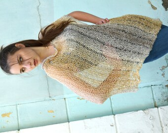 Womens Hand Knit Poncho, Ombre beige gray, Shawl Wrap, Holiday Fashion, Summer Spring Poncho, teenagers, Size S - XXXL, oversized