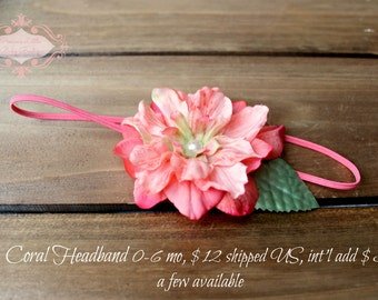 newborn photography prop - Newborn baby girl white lace elastic headband with coral flower, photo prop-baby shower gift