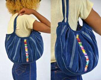 SALE Vintage Ethnic Denim with Rainbow Woven Hippie Guatemalan Shoulder Bag Purse