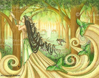 "A Long Horned Girl Calling for All the Animals in a Green Forest Fantasy Art Print. "" The Beautiful Distraction."""
