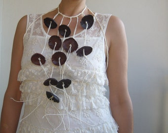 Leather necklace wrap/Body jewelry fiber art/leather statement long/art to wear necklace/wrap necklace fiber art