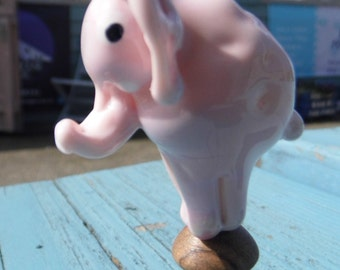 Lampwork Elephant Collectable - Hand Made Glass Elephant, Glass Elephant Sculpture SRAJD FHFTeam