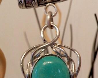 Scarf jewelry.Turquoise scarf  pendant,handmade Scarf bail, big bail for scarf,turquoise scarves pendant,scarf necklace,scarf jewelry