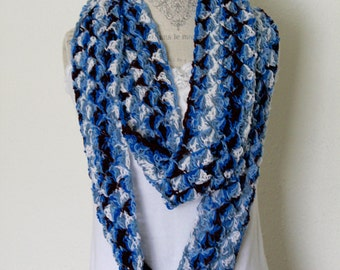 SALE - Scarf, Infinity Scarf, Lightweight Scarf, Blues and Brown - Christmas in July SALE - 20 % off until July 31st