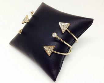 Set of 3 Gold Crystal Bangles