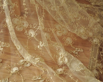 Alencon Lace Fabric in Gold for Bridal, Veils, Garters, Costumes