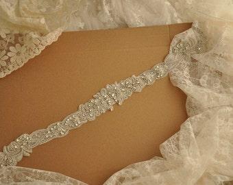 Rhinestone applique bridal, crystal beaded applique for bridal sash, wedding gown belt SZ