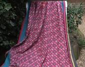 Dusky Pink Kantha,Sari Quilt,Sari Blanket,Kantha Blanket,Kantha Throw,Indian Quilt,Coverlet,Ralli quilt,Gudri,Kantha,Blue Kantha