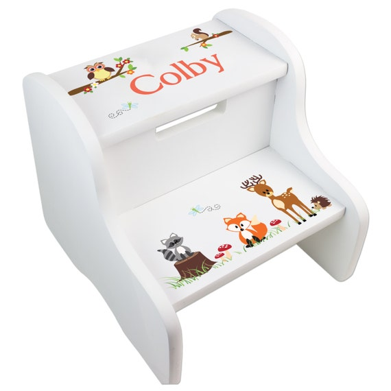 Personalized Woodland Critters Children S Wood Step Stool